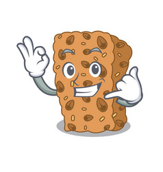 Call me granola bar mascot cartoon vector