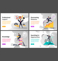 Career building and business growth web pages vector