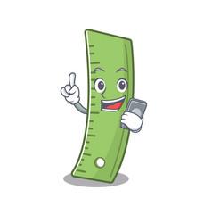 Cartoon design ruler speaking on a phone vector