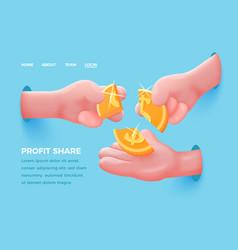 Cartoon realistic hands share golden dollar vector