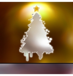 Christmas Tree on gold card EPS 8 vector