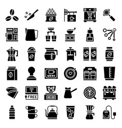 Coffee brew equipment for coffee shop solid style vector
