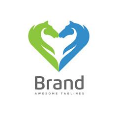 Creative horses love logo concept vector