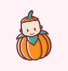 cute smiling halloween bapumpkin cartoon logo vector image