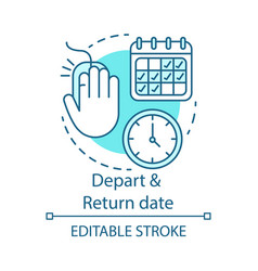 depart and return date concept icon travel vector image