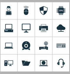 Digital icons set collection of personal computer vector