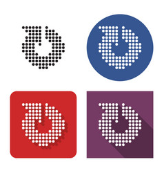 Dotted icon recycling arrow in four variants vector