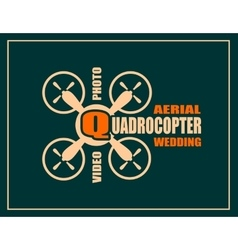 Drone icon Quadrocopter aerial wedding text vector