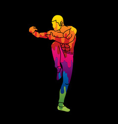 Drunken kung fu pose designed using melting colors vector