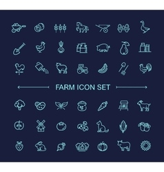 Farm icon set simple and thin line design vector image