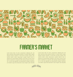 Farmers market concept contains seamless pattern vector