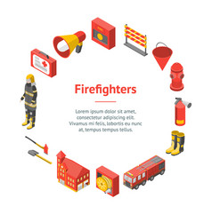 firefighter man and equipment banner card circle vector image