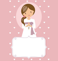 First communion card praying girl frame vector