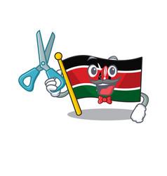 Flag kenya barber cartoon with character happy vector
