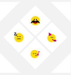 Flat icon emoji set of cheerful party time vector