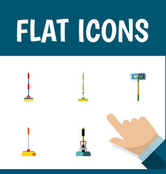 Flat icon mop set of besom equipment sweep and vector