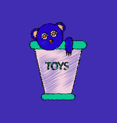 Flat shading style icon teddy bear in bucket vector
