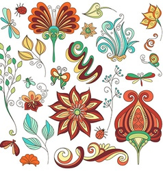 Floral Collection of Hand Drawn Design Elements vector