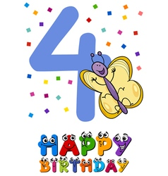 fourth birthday cartoon card design vector image