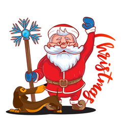 funny cartoon santa claus with magic stick in his vector image