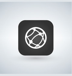 globe internet icon over black app button with vector image
