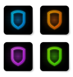 Glowing neon shield icon isolated on white vector