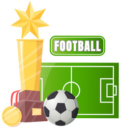 gold cup near football ball poster sport game vector image