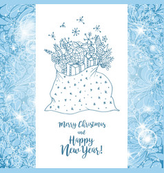 Greeting card with xmas gifts for merry christmas vector