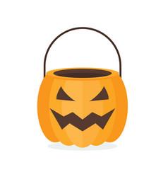 Halloween pumpkin basket vector