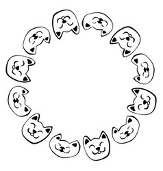 Hand drawn cat round frame vector