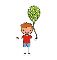 happy boy holding balloon celebration vector image