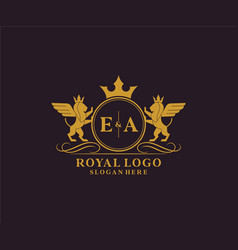 Initial ea letter lion royal luxury heraldiccrest vector