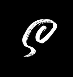 Letter s handwritten by dry brush rough strokes vector
