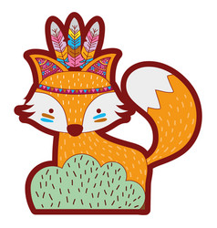 Line color ethnic fox animal in back of bushes vector