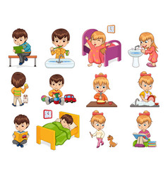 Little boy and girl collection vector