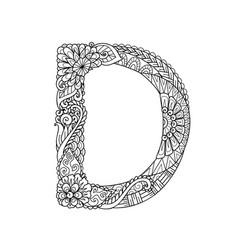 Mandala letter d monogram adult coloring book vector