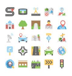 maps and navigation flat icons set 5 vector image