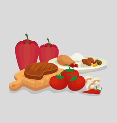 meat with sausages food with rice and vegetables vector image