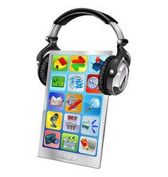 Mobile phone music headphones vector