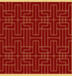 modern geometric tiles pattern red and golden vector image