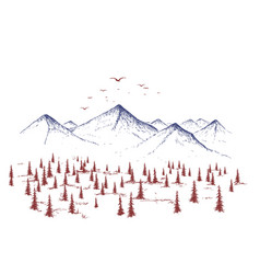 Mountain and forest vector