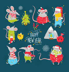 new years card with funny rats graphics vector image