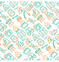 outdoor seamless pattern with thin line icons vector image