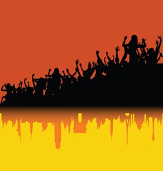 Party people sihouette with shadow of city vector
