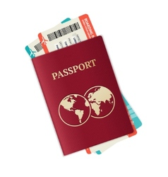 Passport with tickets vector