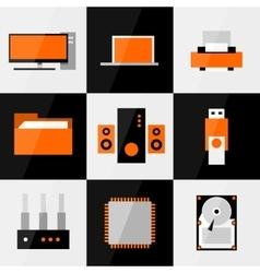 PC icon set vector image