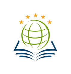 premium 5 star global study education logo sign vector image