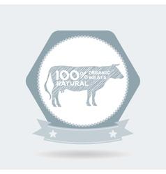 Premium beef label badge farm shop cow milk vector