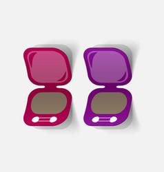 Realistic paper sticker cosmetic powder vector