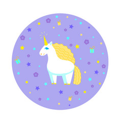 round composition with cute unicorn vector image